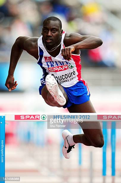 Ladji Doucoure of France competes in the Men's 110m Hurdles Heats during day four of the 21st European Athletics Championships at the Olympic Stadium...