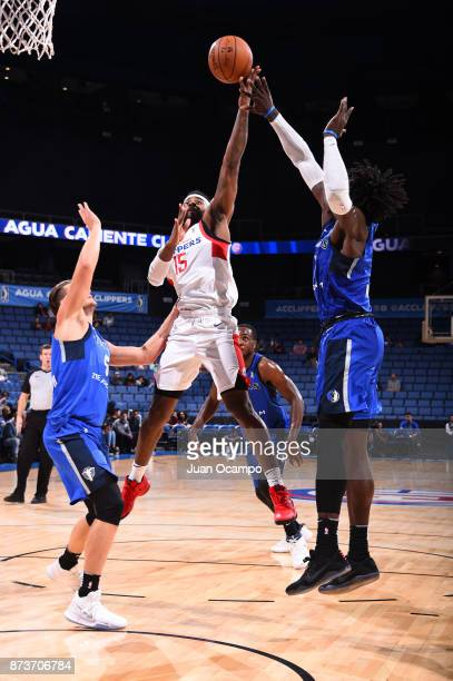 LaDontae Henton of the Agua Caliente Clippers catches the rebound against Texas Legends in Ontario on November 10 2017 at Citizens Business Bank...