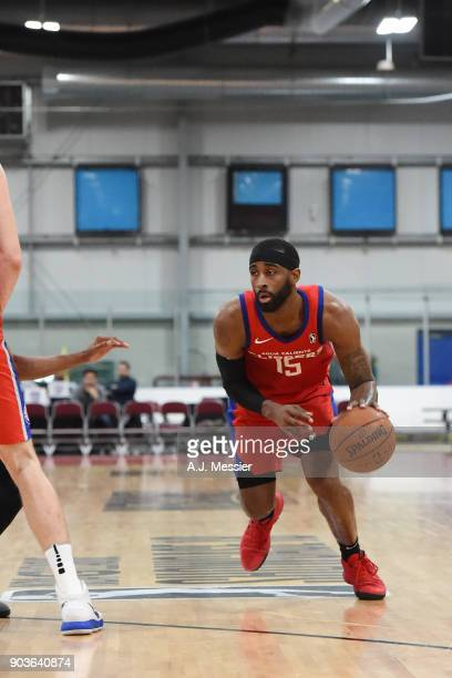 LaDontae Henton of the Agua Caliente Clippers handles the ball against the Greensboro Swarm during the NBA G League Showcase Game 4 on January 10...