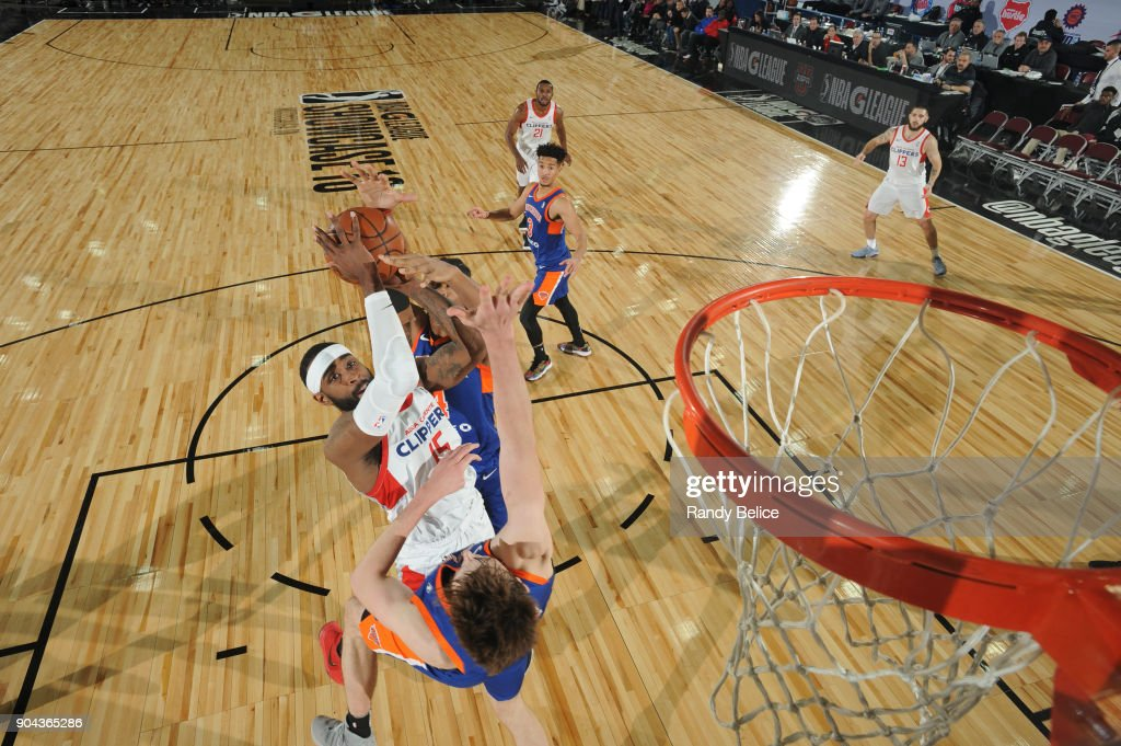 LaDontae Henton #15 of the Agua Caliente Clippers shoots the ball against the Westchester Knicks at NBA G League Showcase Game 19 on January 12, 2018 at the Hershey Centre in Mississauga, Ontario Canada.