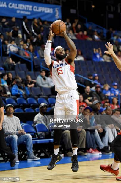 LaDontae Henton of the Agua Caliente Clippers shoots the ball against the Raptors 905 on March 22 2018 at the Citizens Business Bank Arena in Ontario...