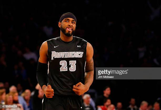 LaDontae Henton of the Providence Friars reacts in the second half of their game against the Creighton Bluejays during the Championship game of the...