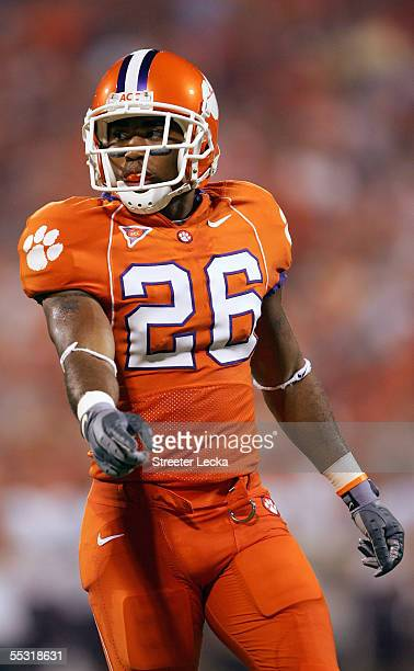 La'Donte Harris of the Clemson Tigers stands on the field during the game with the Texas A&M Aggies at Clemson Memorial Stadium on September 3, 2005...