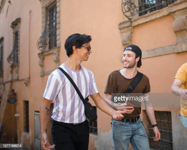 lads exploring volterra - only young men stock pictures, royalty-free photos & images