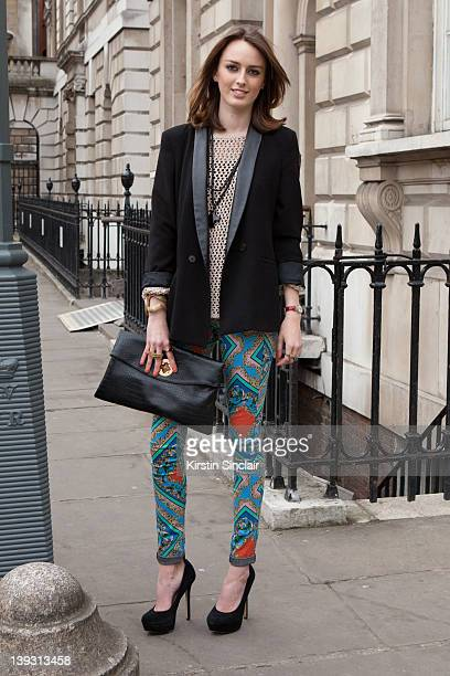 Lady A Manners wearing Topshop ASOS bag Matthew Williams shoes street style at London fashion week autumn/winter 2012 womenswear shows on February 18...