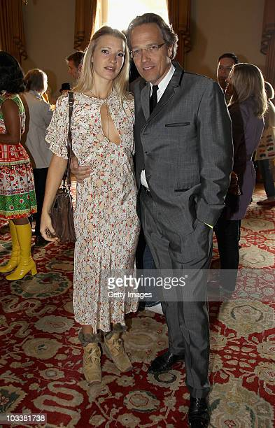 Lady Alexandra Gordon Lennox with her father the Earl of March attend a reception during Day 2 of the Vintage at Goodwood Festival at Goodwood House...