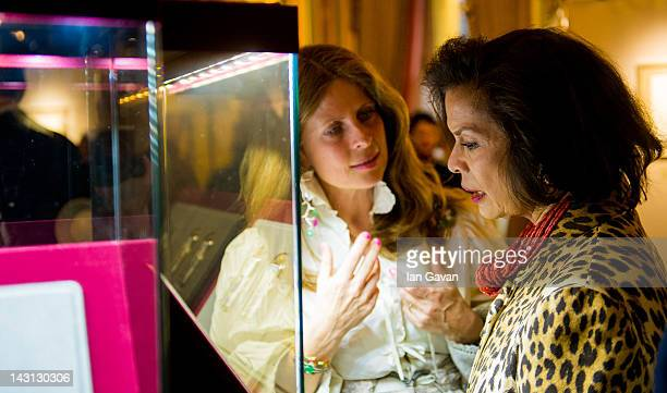 Lady Aliai Forte and Bianca Jagger attend the Royal Portraits Exhibition at The Ritz London on April 19 2012 in London England