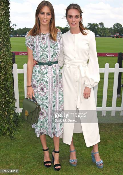 Lady Alice Manners and Lady Violet Manners attend the Cartier Queen's Cup Polo final at Guards Polo Club on June 18 2017 in Egham England