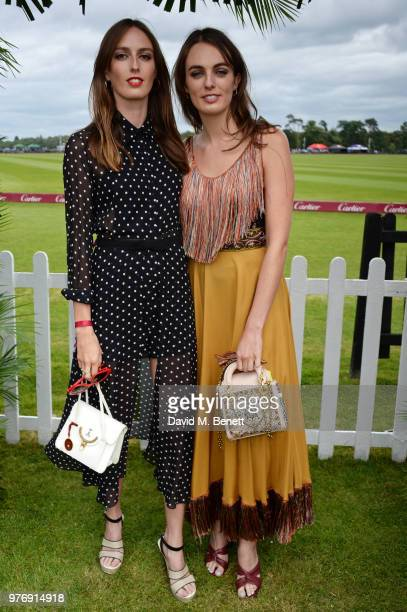 Lady Alice Manners and Lady Violet Manners attend the Cartier Queen's Cup Polo Final at Guards Polo Club on June 17 2018 in Egham England