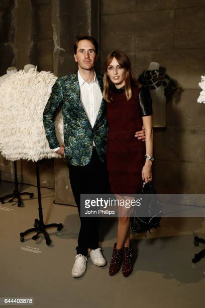 Lady Alice Manners and Otis Ferry wearing Burberry attends Burberry Acoustic featuring a live performance by British musician Dan Owens at Makers...