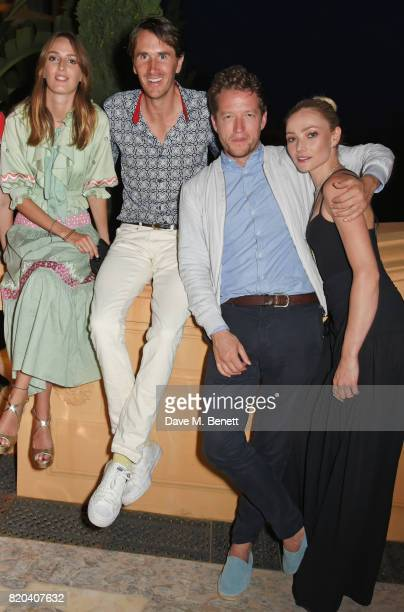 Lady Alice Manners Otis Ferry Robin ScottLawson and Clara Paget attend the Lelloue launch party at Villa St George on July 21 2017 in Cannes France