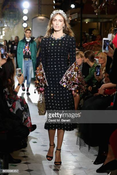 Lady Alice Manners walks the Dolce Gabbana Italian Christmas catwalk show at Harrods on November 2 2017 in London England