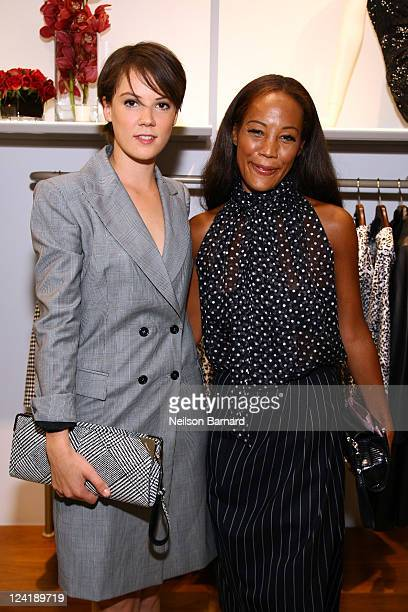 Lady Alice St Clair Erskine and Maggie Betts attend Ferragamo's Black And White Fete to celebrate Fashions Night Out at Salvatore Ferragamo on...