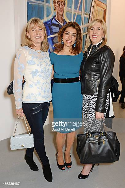 Lady Alison Myners and guests attend a private view of 'Julian Schnabel Every Angel Has A Dark Side' in aid of Chickenshed at The Dairy Art Centre on...