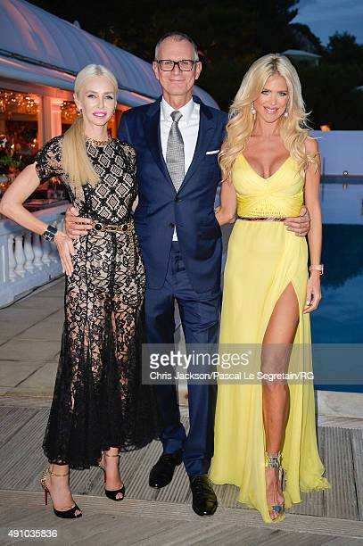 Lady Amanda Cronin guest and Victoria Silvstedt attend the wedding party of Gareth Wittstock and Roisin Galvin on September 4 2015 in...