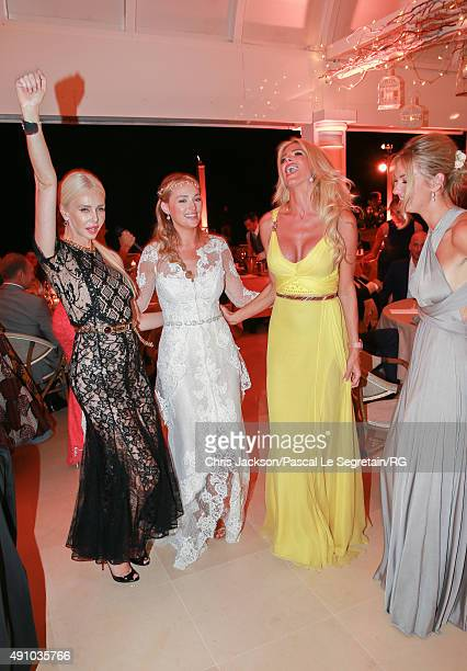 Lady Amanda Cronin Roisin Galvin Wittstock and Victoria Silvstedt attend the wedding party of Gareth Wittstock and Roisin Galvin on September 4 2015...
