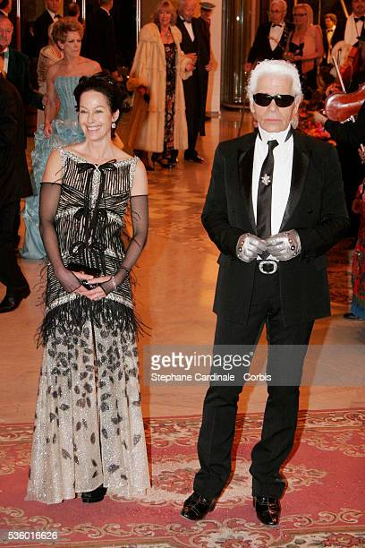 Lady Amanda Harlech and designer Karl Lagerfeld attend the Gypsy Rose Ball in Monaco
