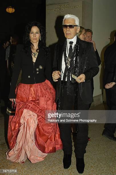 Lady Amanda Harlech and Karl Lagerfeld at the Metropolitan Museum of Art in New York City New York