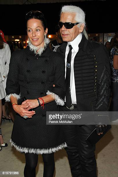 Lady Amanda Harlech and Karl Lagerfeld attend CHANEL Cruise Show LA Backstage at Santa Monica Airport on May 18 2007 in Santa Monica CA