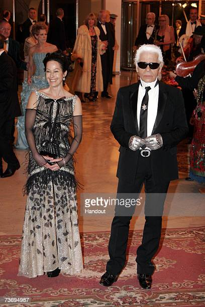 Lady Amanda Harlech and Karl Lagerfeld attend the 2007 Monte Carlo Rose Ball at the MonteCarlo Sporting Club on March 24 2007 in Monte Carolo Monaco
