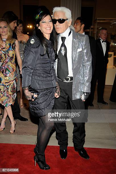 Lady Amanda Harlech and Karl Lagerfeld attend THE COSTUME INSTITUTE GALA SUPERHEROES with honorary chair GIORGIO ARMANI at The Metropolitan Museum of...