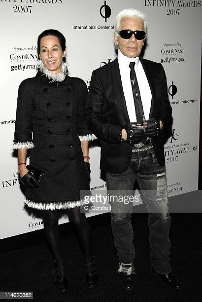 Lady Amanda Harlech and Karl Lagerfeld during The International Center of Photography's 23rd Annual Infinity Awards at Pier Sixty Chelsea Piers in...