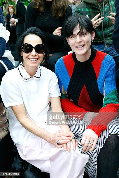 Lady Amanda Harlech and model Stella Tennant attend the Celine show as part of the Paris Fashion Week Womenswear Fall/Winter 20142015 on March 2 2014...