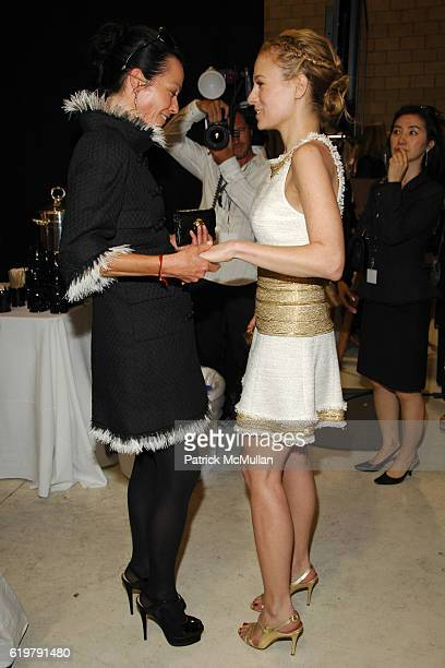 Lady Amanda Harlech and Rebekah McCabe attend CHANEL Cruise Show LA Backstage at Santa Monica Airport on May 18 2007 in Santa Monica CA