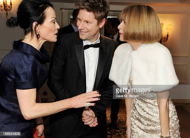 Lady Amanda Harlech Christopher Bailey and Anna Wintour attend a drinks reception at the 58th London Evening Standard Theatre Awards in association...