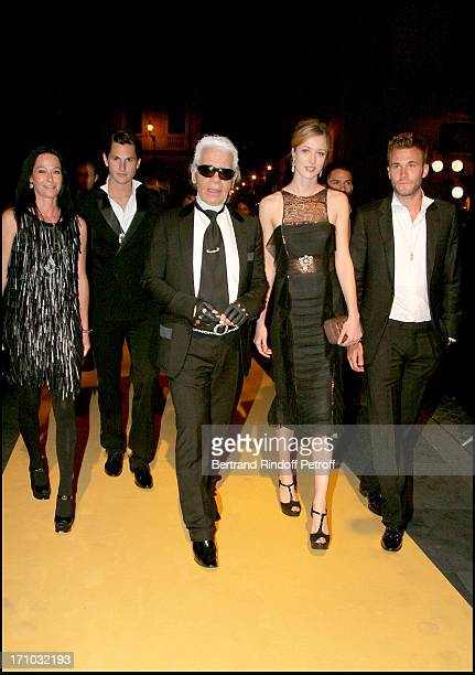 Lady Amanda Harlech Jake Davis Karl Lagerfeld and Rachel Zimmermann and Brad Kroenig Dinner at the Fendi Palazzo in Rome for the launch of the new...