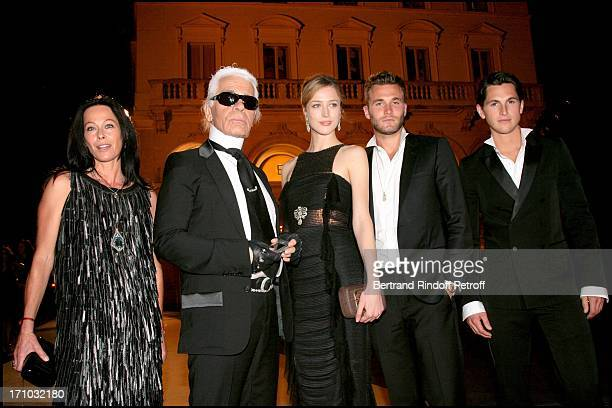 Lady Amanda Harlech Karl Lagerfeld and Rachel Zimmermann and Brad Koenig and Juke Davis Dinner at the Fendi Palazzo in Rome for the launch of the new...