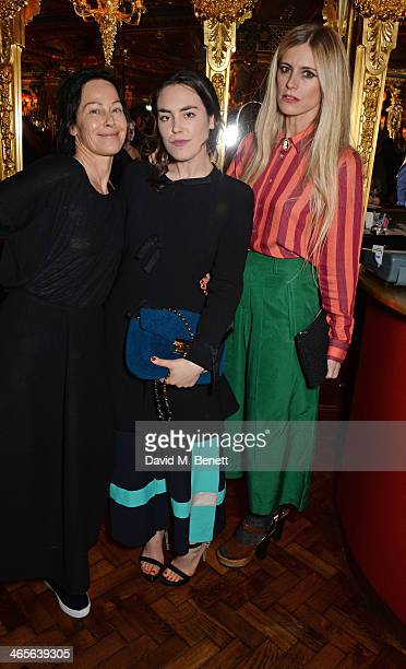 Lady Amanda Harlech Tallulah Harlech and Laura Bailey attend the BFC/Vogue Fashion Fund winner's announcement at the Cafe Royal on January 28 2014 in...