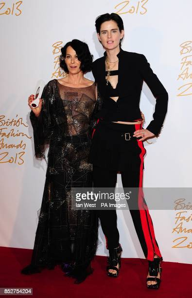 Lady Amanda Harlech with the award for Fashion Crewator and Stella Tennant during the 2013 British Fashion Awards at The London Coliseum St Martin's...