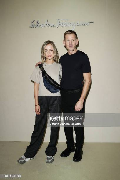 Lady Amelia Windsor and Paul Andrew attend the Salvatore Ferragamo show during Milan Fashion Week Autumn/Winter 2019/20 on February 23 2019 in Milan...