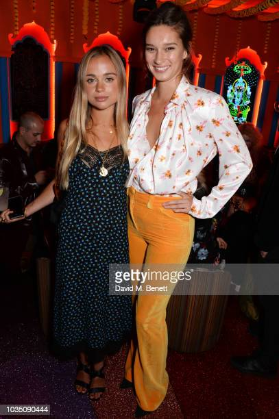 Lady Amelia Windsor and Renee Stewart attend the LOVE Magazine 10th birthday party with PerrierJouet at Loulou's on September 17 2018 in London...