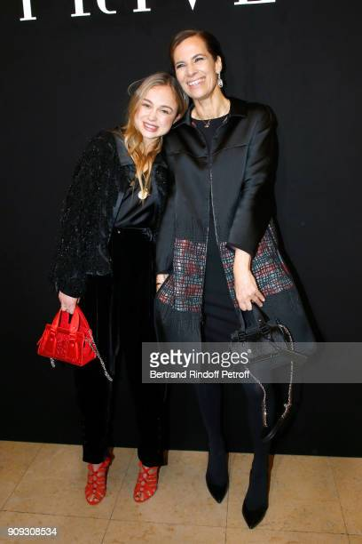 Lady Amelia Windsor and Roberta Armani attend the Giorgio Armani Prive Haute Couture Spring Summer 2018 show as part of Paris Fashion Week on January...