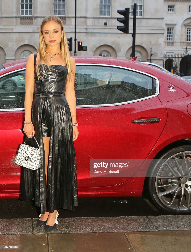 Lady Amelia Windsor arrives in a Maserati to Bvlgari FESTA Gala Dinner at Banqueting House on May 12, 2018 in London, England.