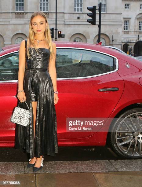 Lady Amelia Windsor arrives in a Maserati to Bvlgari FESTA Gala Dinner at Banqueting House on May 12 2018 in London England