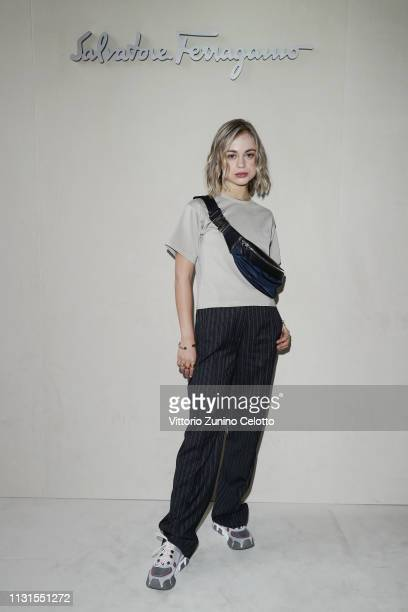 Lady Amelia Windsor attend the Salvatore Ferragamo show during Milan Fashion Week Autumn/Winter 2019/20 on February 23 2019 in Milan Italy