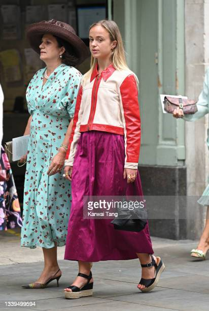 Lady Amelia Windsor attends Flora Alexandra Ogilvy and Timothy Vesterberg's marriage blessing at St James's Piccadilly on September 10, 2021 in...