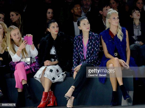 Lady Amelia Windsor Naomi Scott Gao Yuanyuan and Poppy Delevingne attend the Emporio Armani Show on September 17 2017 in London England