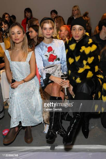 Lady Amelia Windsor Pixie Geldof and Adwoa Aboah attend the Shrimps show during London Fashion Week February 2019 at Ambika P3 on February 19 2019 in...