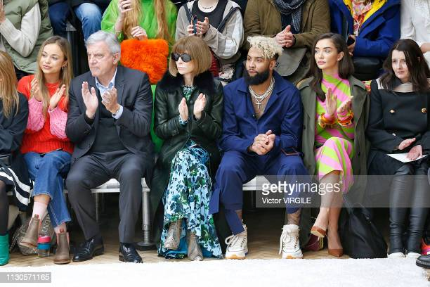 Lady Amelia Windsor Sidney Toledano Anna Wintour and Odell Beckham Jr at the JW Anderson Ready to Wear Fall/Winter 20192020 fashion show during...