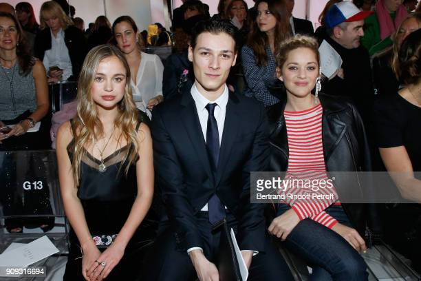 Lady Amelia Windsor Star Dancer Hugo Marchand and Actress Marion Cotillard attend the Giorgio Armani Prive Haute Couture Spring Summer 2018 show as...
