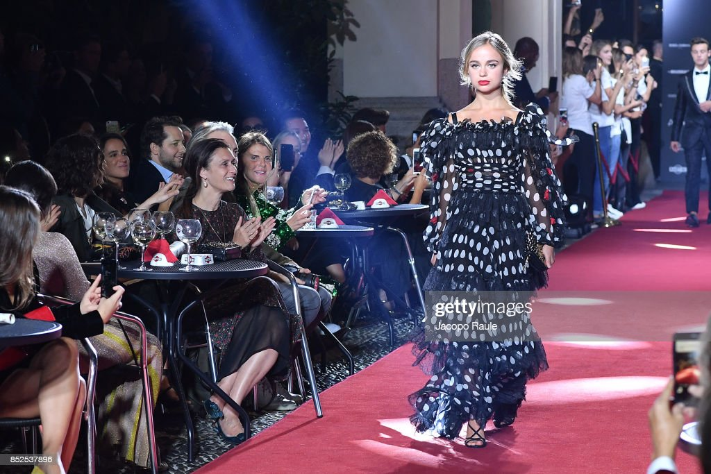 Lady Amelia Windsor walks the runway at the Dolce & Gabbana secret show during Milan Fashion Week Spring/Summer 2018 at Bar Martini on September 23, 2017 in Milan, Italy.