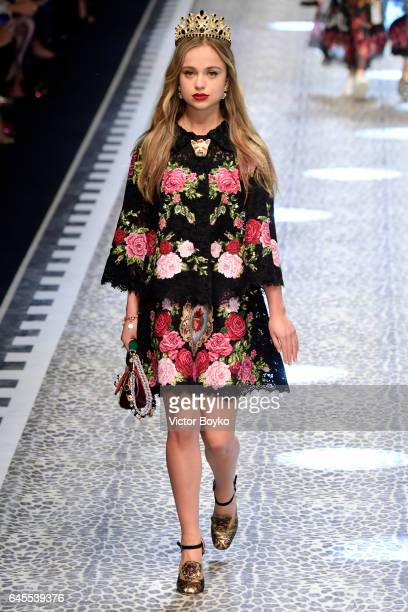 Lady Amelia Windsor walks the runway at the Dolce Gabbana show during Milan Fashion Week Fall/Winter 2017/18 on February 26 2017 in Milan Italy