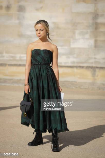 Lady Amelia Windsor wearing Dior dress Dior saddle bag Dior boots outside the Dior show as part of the Paris Fashion Week Womenswear Fall/Winter...