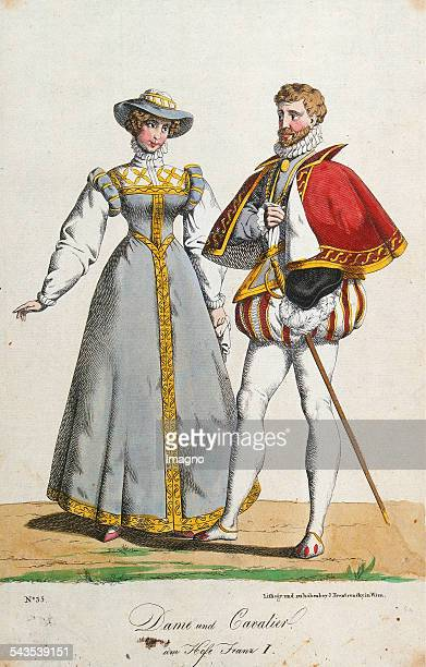 Lady and Cavalier at the court of Francis I About 1822/25 From the serie >Trentsensky's peoples costumes< No 35 Colored nib lithographs based on...
