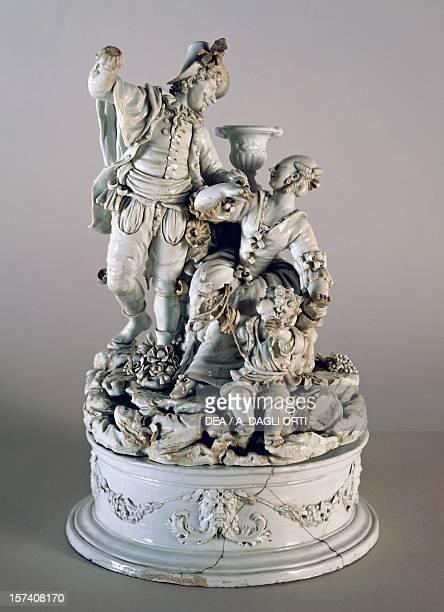 Lady and knight, 1782-1800, white maiolica, Nove manufacture, Bassano, Veneto. Italy, 18th century. Milan, Castello Sforzesco, Civiche Raccolte...
