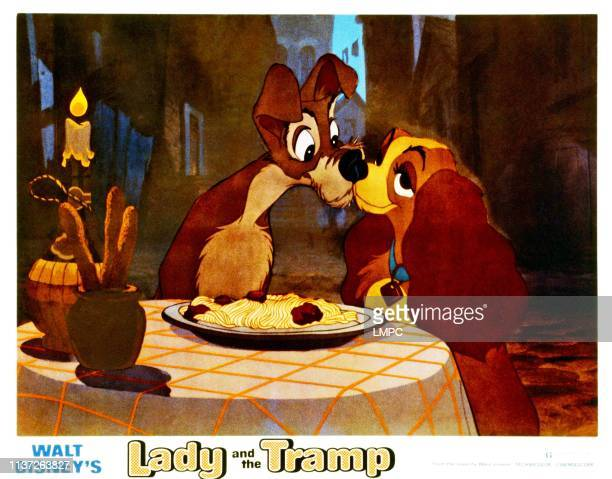 Lady And The Tramp, lobbycard, from left, Tramp, Lady, 1955.
